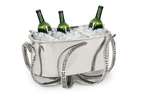 (41961) Aluminum Octopus Ice Bucket and Beverage Cooler with Polished Nickel Finish