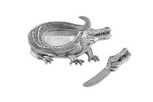 (42111) Aluminum Alligator Dish and Spreader Set with Polished Nickel Finish