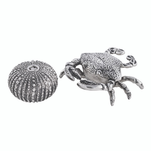 (42140) Aluminum Crab and Sea Urchin Salt and Pepper Shaker Set with Polished Nickel Finish