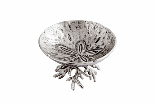 (42245) Medium Aluminum Sand Dollar and Coral Bowl with Polished Nickel Finish