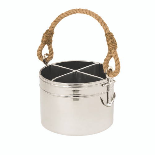 (42256) Aluminum 4-Section Anchor Utensil Caddy with Polished Nickel Finish