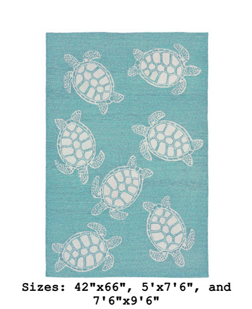 Capri Turtle Indoor/Outdoor Rug - Aqua - large Rectangle Available in 6 Sizes