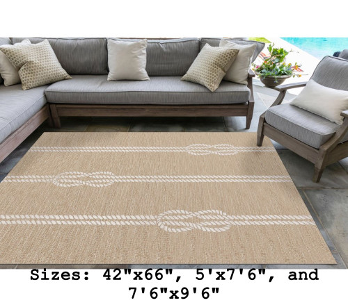 Neutral Capri Nautical Ropes Indoor/Outdoor Rug - Large Rectangle Lifestyle