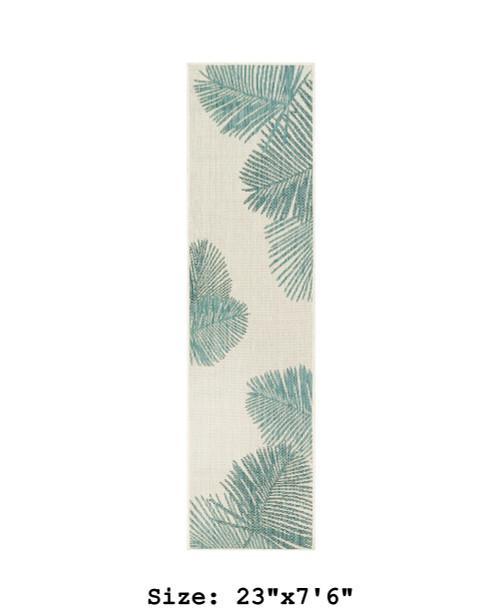 Aqua Carmel Palm Leaf Indoor/Outdoor Rug - Runner