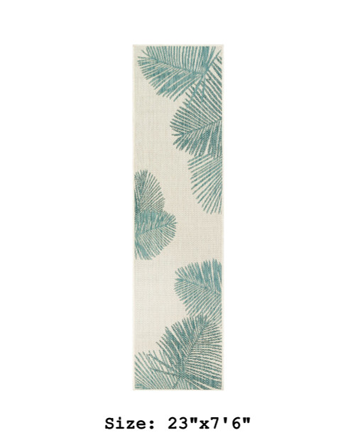 Aqua Carmel Palm Leaf Indoor/Outdoor Rug - Runner
