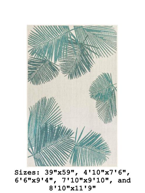 Aqua Carmel Palm Leaf Indoor/Outdoor Rug - Rectangle