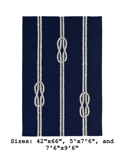 Navy Capri Nautical Ropes Indoor/Outdoor Rug - Large Rectangle
