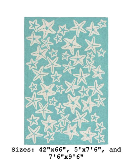 Aqua Capri Starfish Indoor/Outdoor Rug - Large Rectangle