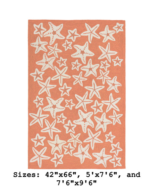 Coral Capri Starfish Indoor/Outdoor Rug - Large Rectangle