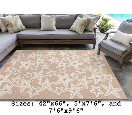 Neutral Capri Starfish Indoor/Outdoor Rug - Large Rectangle Lifestyle