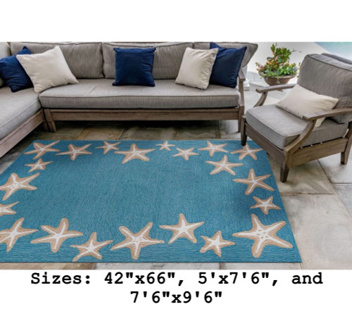 Aqua Capri Starfish Border Indoor/Outdoor Rug -  Large Rectangle  Lifestyle