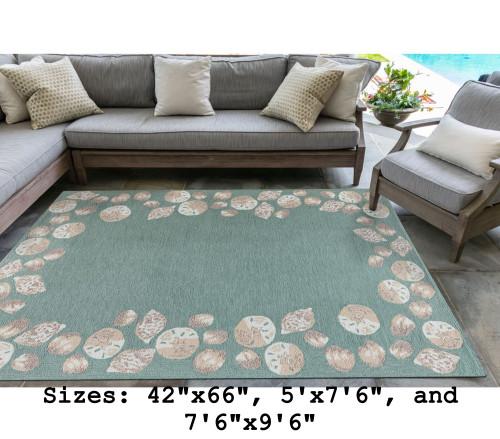Aqua Capri Seashell Border Indoor/Outdoor Rug - Large Rectangle Lifestyle