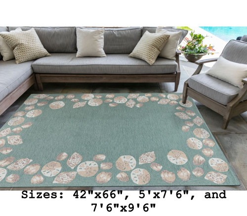 Aqua Capri Seashell Border Indoor/Outdoor Rug - Large Rectangle Lifestyle