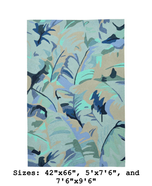 Blue Capri Palm Leaf Indoor/Outdoor Rug - Large Rectangle