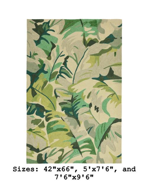 Green Capri Palm Leaf Indoor/Outdoor Rug -  Large Rectangle