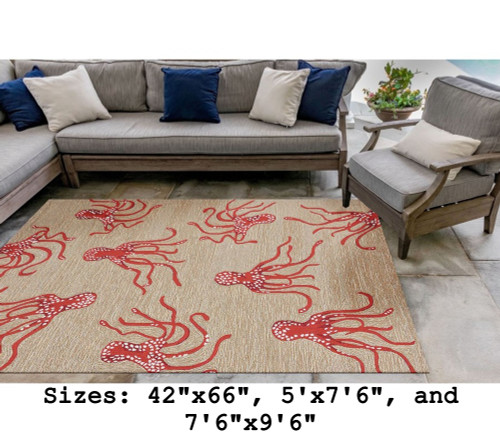 Coral Capri Octopus Indoor/Outdoor Rug - Large Rectangle Lifestyle