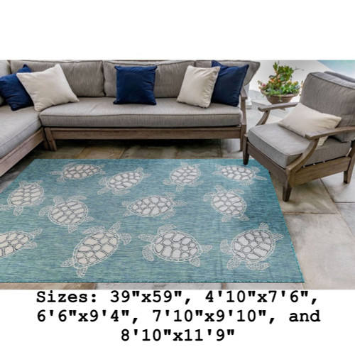 Aqua Carmel Sea Turtles Indoor/Outdoor Rug - Rectangle Lifestyle