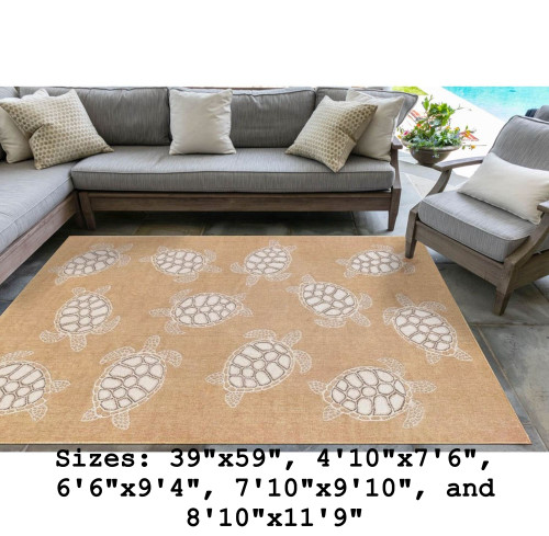 Sand Carmel Sea Turtles Indoor/Outdoor Rug - Rectangle Lifestyle