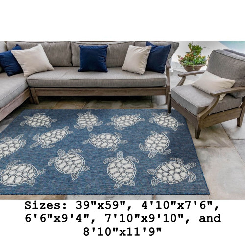 Navy Carmel Sea Turtles Indoor/Outdoor Rug - Rectangle Lifestyle
