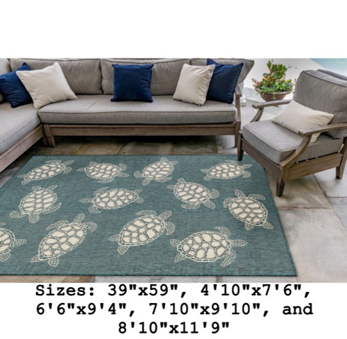 Teal Carmel Sea Turtles Indoor/Outdoor Rug - Rectangle Lifestyle