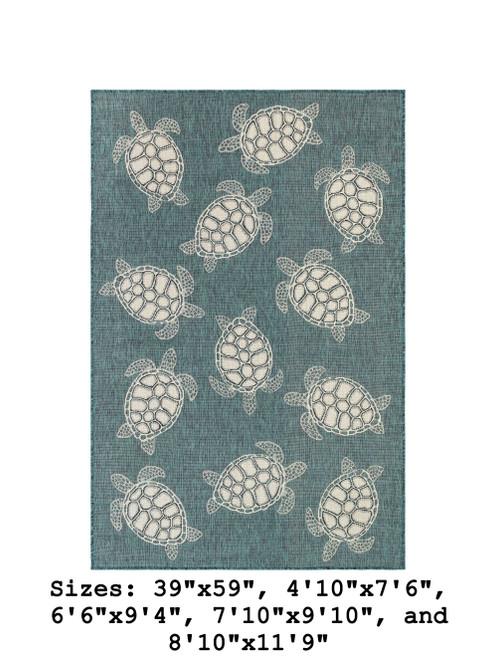 Teal Carmel Sea Turtles Indoor/Outdoor Rug - Rectangle