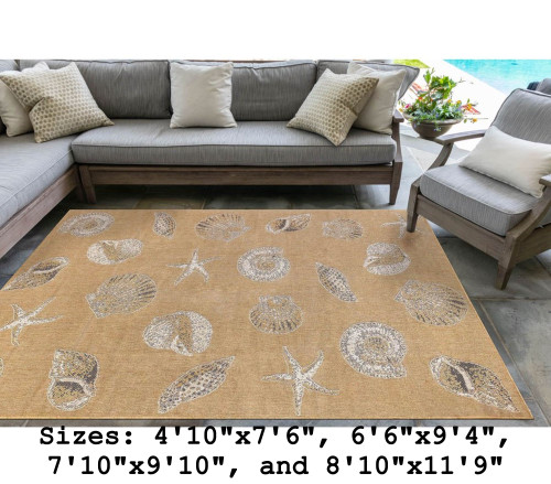Sand Carmel Shells Indoor/Outdoor Rug -  Rectangle Lifestyle