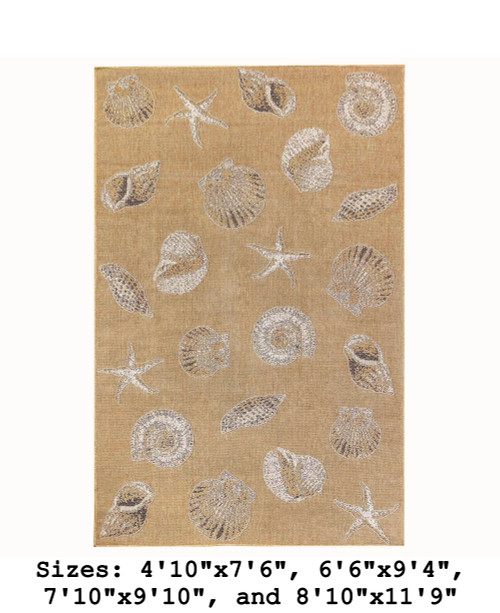 Sand Carmel Shells Indoor/Outdoor Rug -  Rectangle