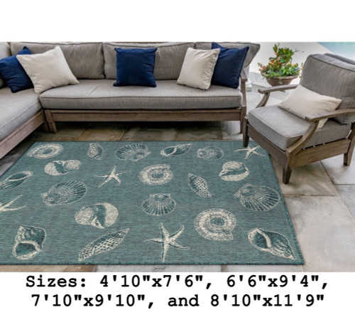 Teal Carmel Shells Indoor/Outdoor Rug -  Rectangle Lifestyle