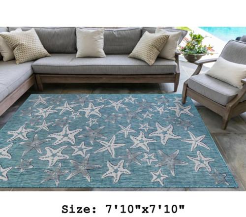 Aqua Carmel Starfish Indoor/Outdoor Rug - Square Lifestyle