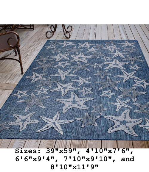 Navy Carmel Starfish Indoor/Outdoor Rug - Rectangle Lifestyle