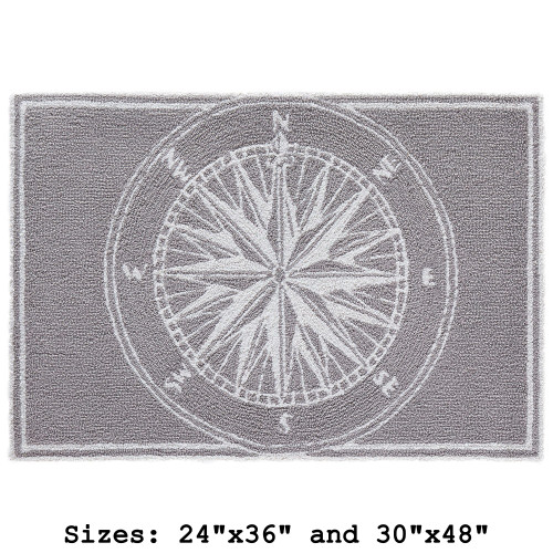 "Frontporch Compass Rose Indoor/Outdoor Rug - Small Rectangle - 24""x36"" and 30""x40"""