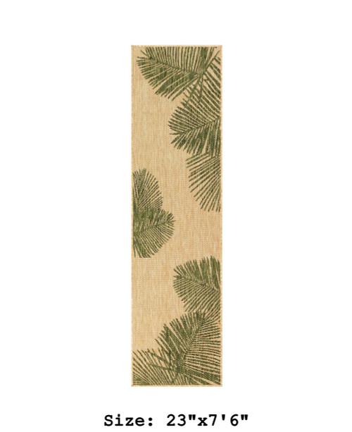 Green  Carmel Palm Leaf Indoor/Outdoor Rug - Runner