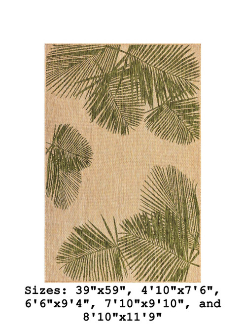 Green  Carmel Palm Leaf Indoor/Outdoor Rug - Rectangle