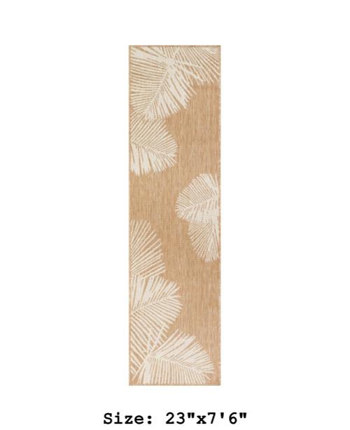 Sand Carmel Palm Leaf Indoor/Outdoor Rug - Runner