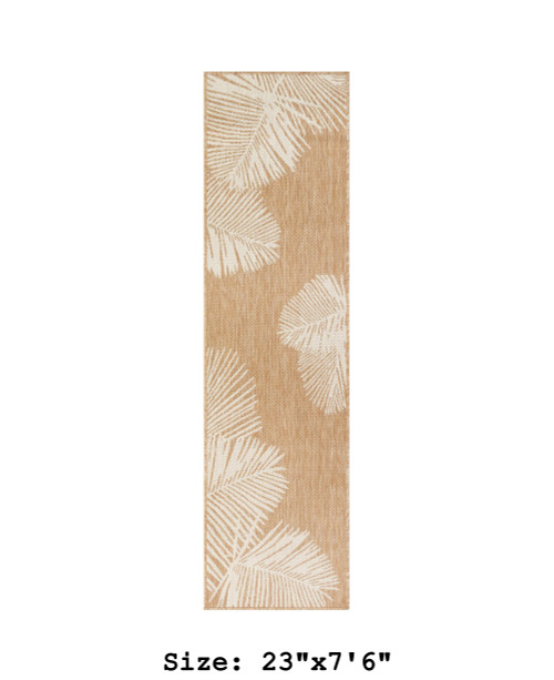Sand Carmel Palm Leaf Indoor/Outdoor Rug - Runner