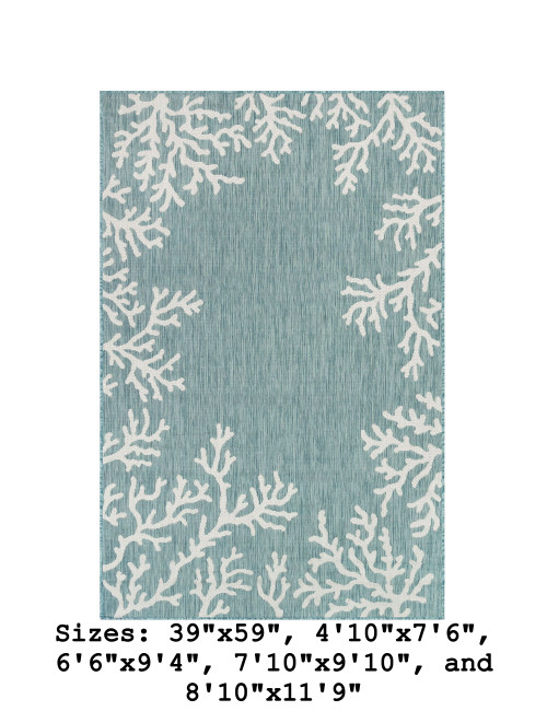Aqua Carmel Coral Border Indoor/Outdoor Rug - Rectangle