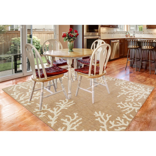 Aqua Carmel Coral Border Indoor/Outdoor Rug - Rectangle Lifestyle