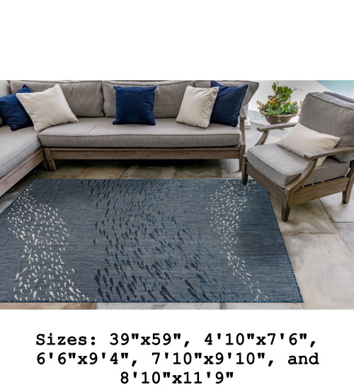 Navy Carmel School of Fish Indoor/Outdoor Rug - Rectangle Lifestyle