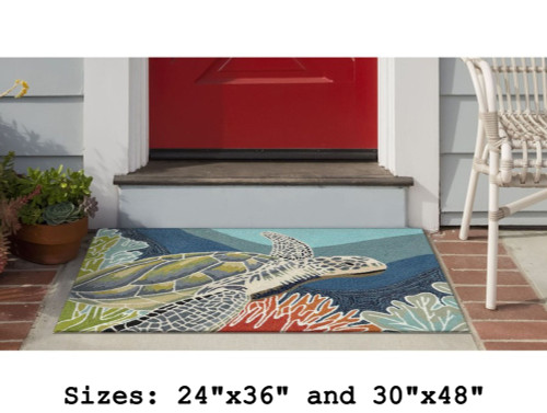 Ravella Sea Turtle Indoor/Outdoor Rug - Small Rectangle Lifestyle