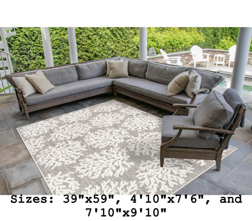 Ivory Rialto Coral Indoor/Outdoor Rug - Rectangle Lifestyle