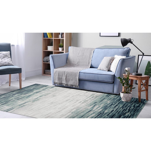 Blue Aurora Strata Indoor Rug -  Rectangle Lifestyle