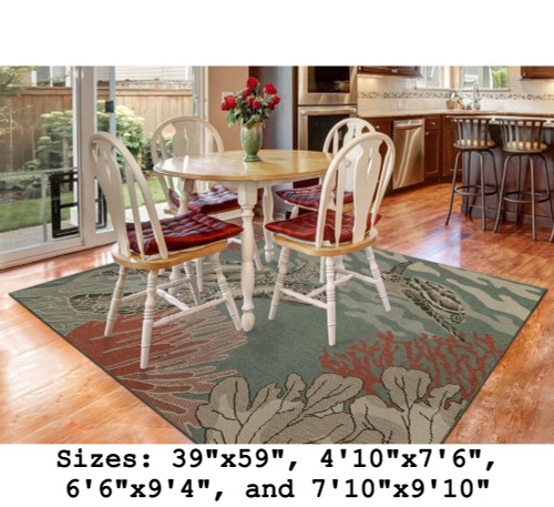 Riviera Sea Turtles Indoor/Outdoor Rug - Rectangle Lifestyle