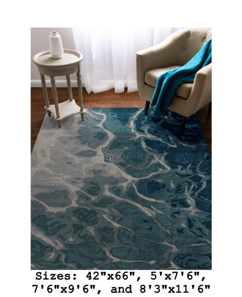 Blue Corsica Water Indoor Rug - Rectangle  Lifestyle