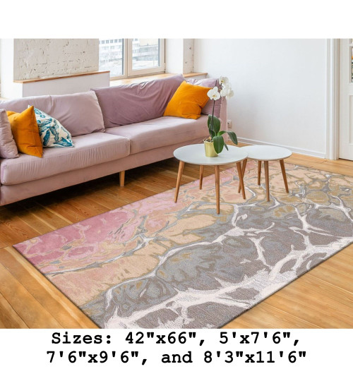 Blush Corsica Water Indoor Rug - Rectangle Lifestyle
