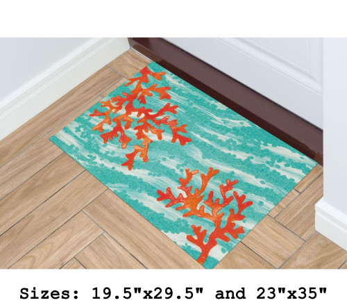 Illusions Coral Wave Indoor/Outdoor Rug - Rectangle Lifestyle