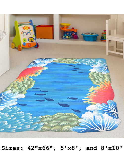 Blue Visions Reef Border Indoor/Outdoor Rug - Large Rectangle Lifestyle