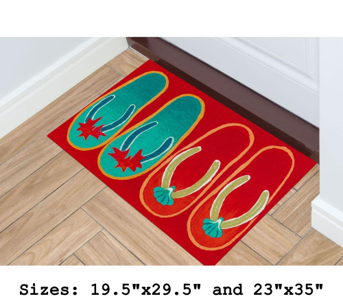 Red Illusions Flip Flops Indoor/Outdoor Rug - Rectangle Lifestyle