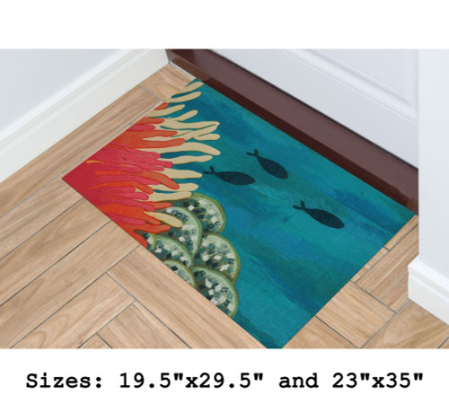 Illusions Coral Reef Indoor/Outdoor Rug - Rectangle Lifestyle