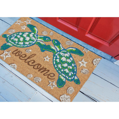 "Natura Sea Turtles ""Welcome"" Indoor/Outdoor Rug - Lifestyle"