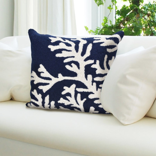 Frontporch Navy Coral Indoor/Outdoor Throw Pillow - Lifestyle 1
